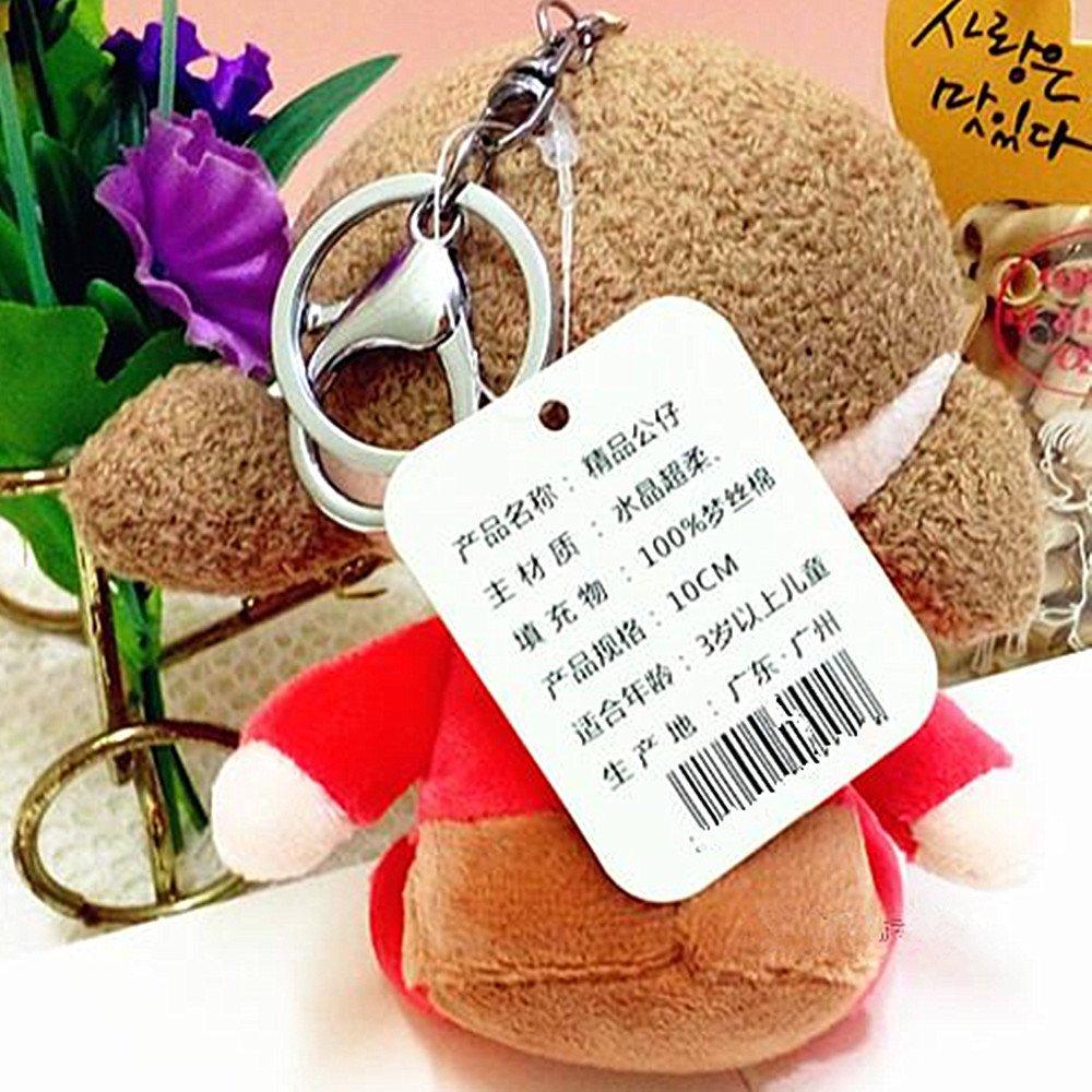 Keyring Clip Woman Girl Backpacks Keychain Plush Stuffed Animal Toy 5.1,Pink