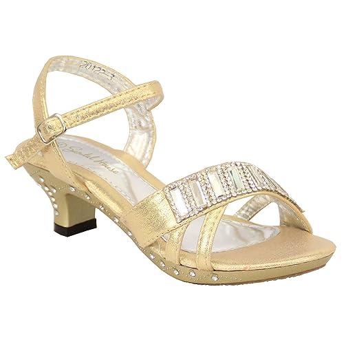 ea7ad256e Sandalias para Niña Infantil Dama De Honor Zapatos Pedrería Peep Toe Correa  Tacón Bajo Boda -