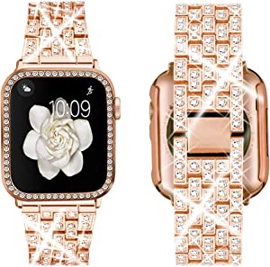 Supoix Compatible with Apple Watch Band 38mm 40mm 42mm 44mm + Case, Women Jewelry Bling Diamond Replacement Metal Strap & Soft PC Bumper Protective Case for iWatch Series 6/5/4/3/2/1(Rose Gold)