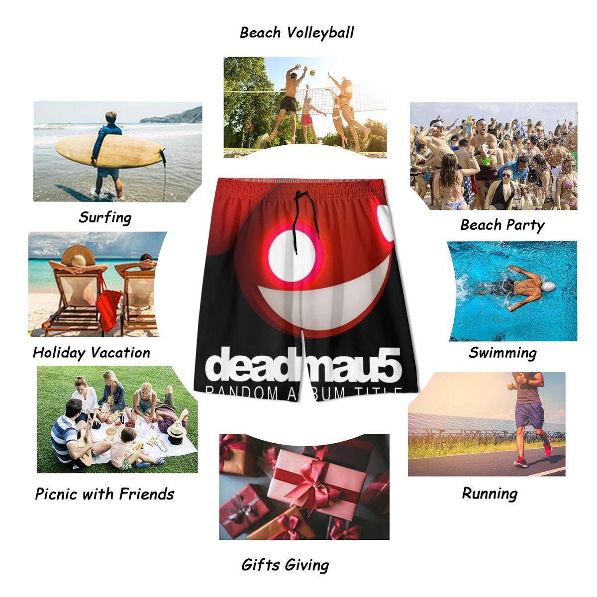 JacobKThompson Deadmau Summer Adolescent Men Leisure Quick Dry Surfing Beach Shorts Elastic Band Pocket Drawstring
