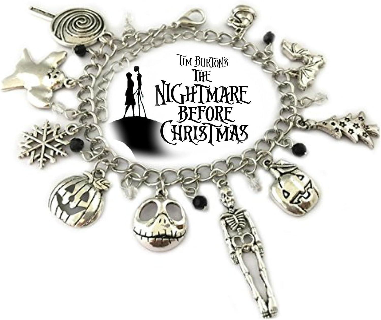 Nightmare Before Christmas 9 Themed Charms Silvertone Metal Charm Bracelet