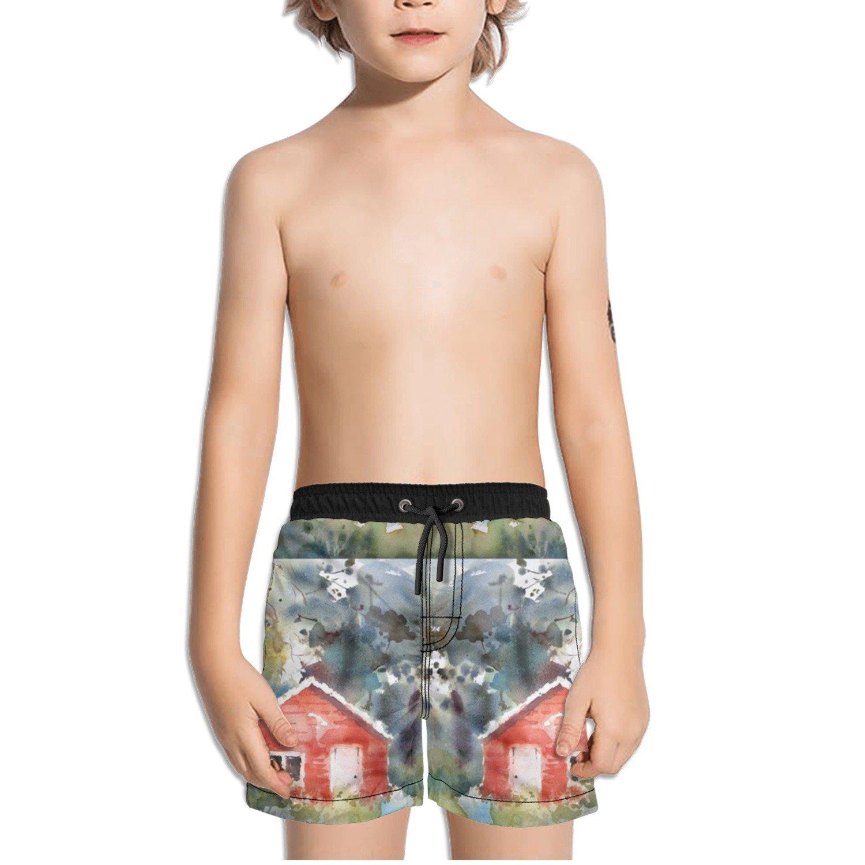 Ouxioaz Boys Swim Trunk Watercolor Painting House Beach Board Shorts