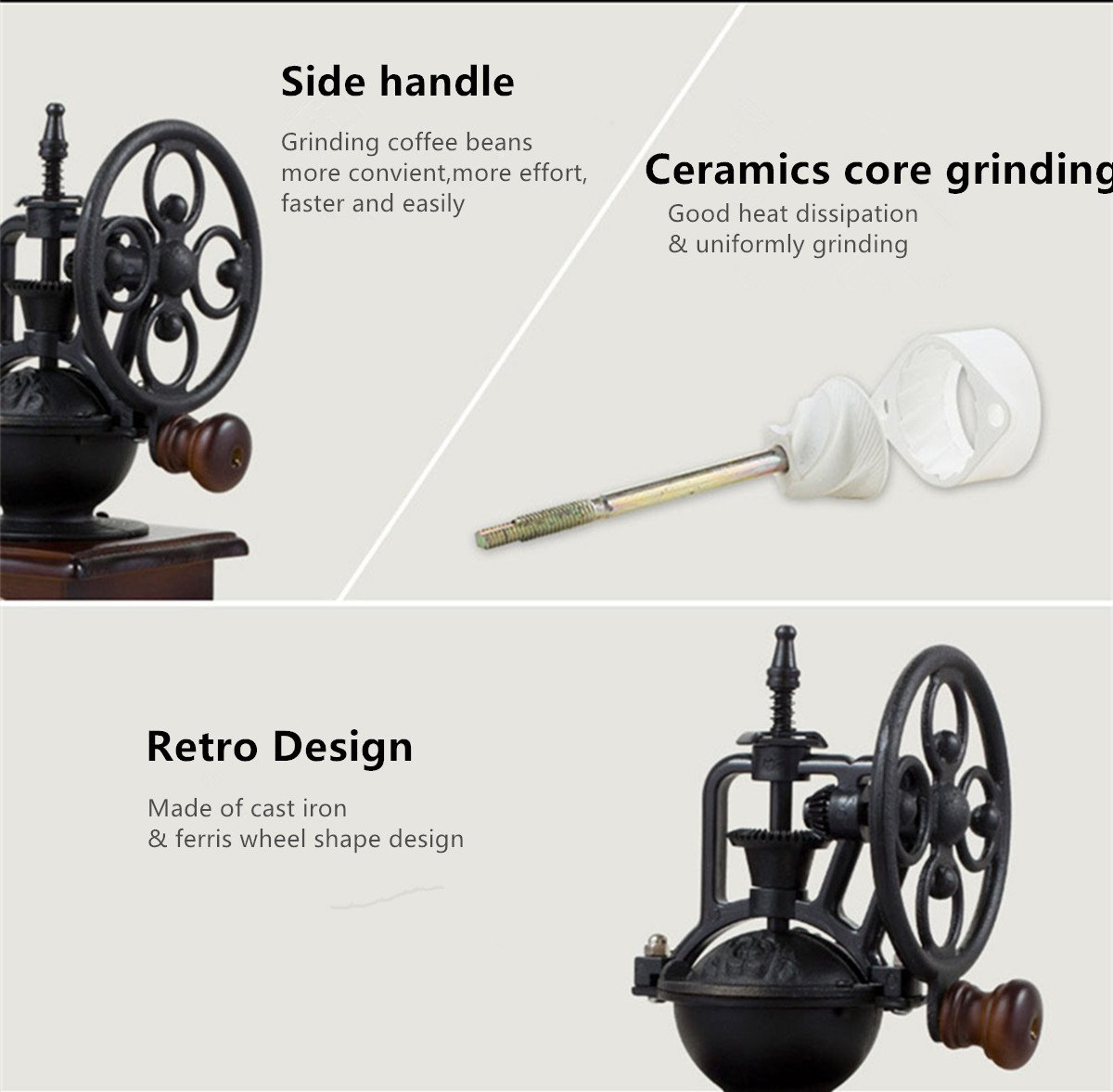 Fecihor Manual Coffee Grinder With Grind Settings and Catch Drawer - Classic Vintage Style Manual Hand Grinder Coffee Mill by Fecihor (Image #5)