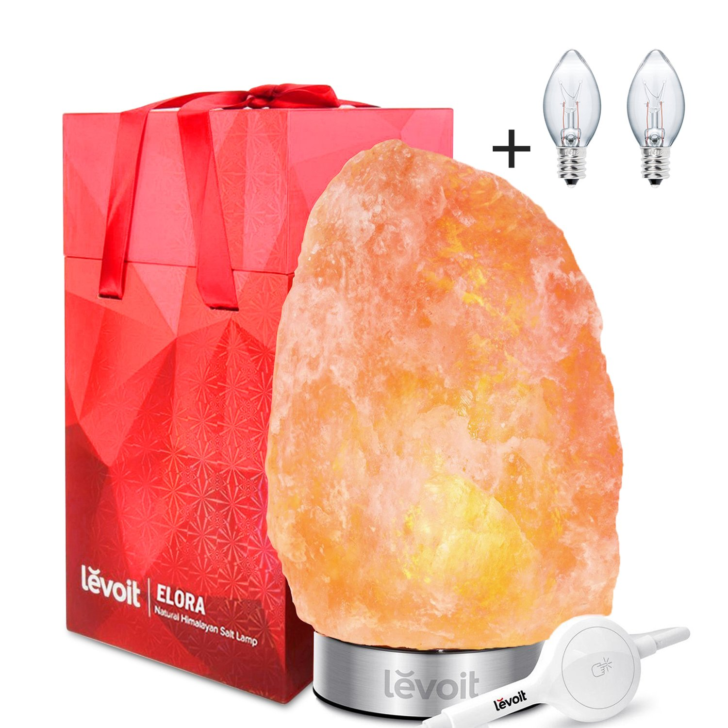 Levoit Elora Salt Lamp, Himalayan / Hymilain Sea Salt Lamps, Pink Crystal Salt Rock Lamp, Night Light, Stainless Steel Base, Dimmable Touch Switch, Holiday Gift(ETL Certified, 2 Extra Original Bulbs)