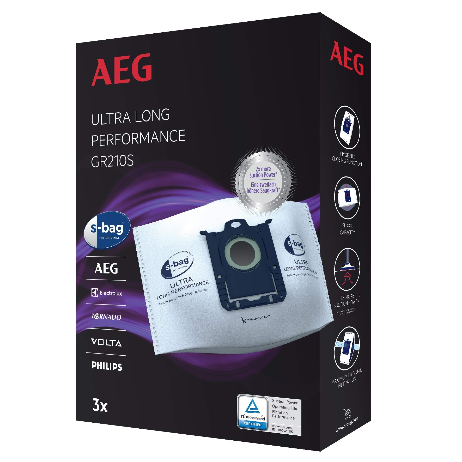 Aeg GR210S S-Bag Ultra Long Performance Vacuum Cleaner Bags,