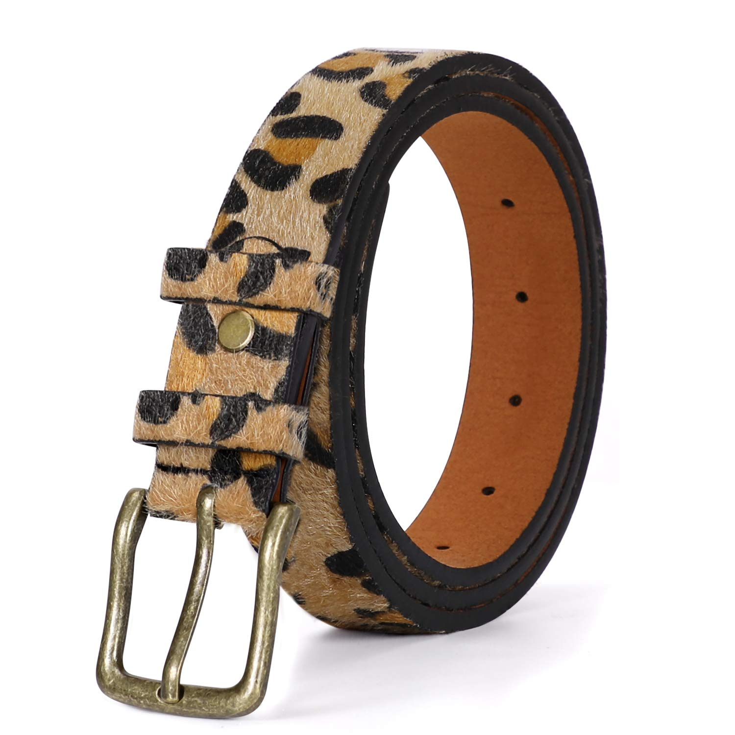 Women Leopard Print Leather Belt for Pants Jeans Waist Belt with Alloy Buckle Plus Size Belt by WHIPPY