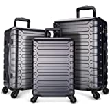 SHOWKOO Luggage Expandable Clearance Suitcases Hardshell Lightweight Durable Spinner Wheels with TSA Lock,Grey,3-Piece Set(20