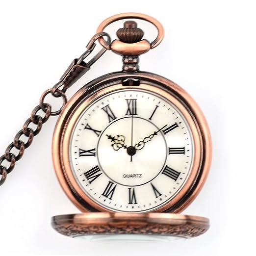 1210b39258753 Powshop Vintage Pocket Watch Roman Steampunk Retro Quartz Roman Numerals  Steel Mens Watch with Chain Gift