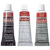 Amaco Rub 'N Buff Wax Metallic Finish, 3 Color Grey Assortment (Ebony, Silver Leaf, Pewter)