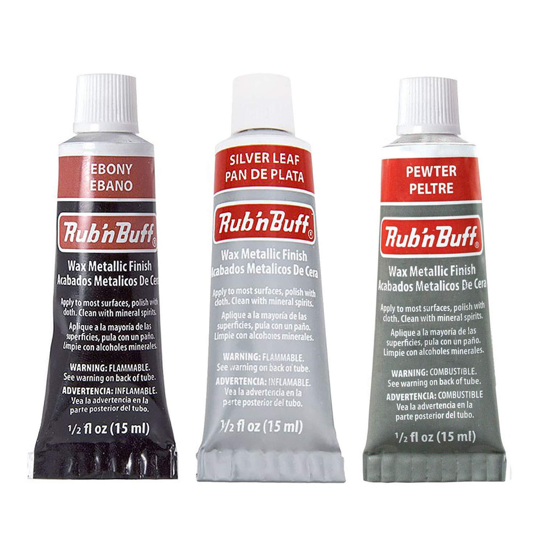 Amaco Rub 'N Buff Wax Metallic Finish, 3 Color Grey Assortment (Ebony, Silver Leaf, Pewter) by Framer Supply