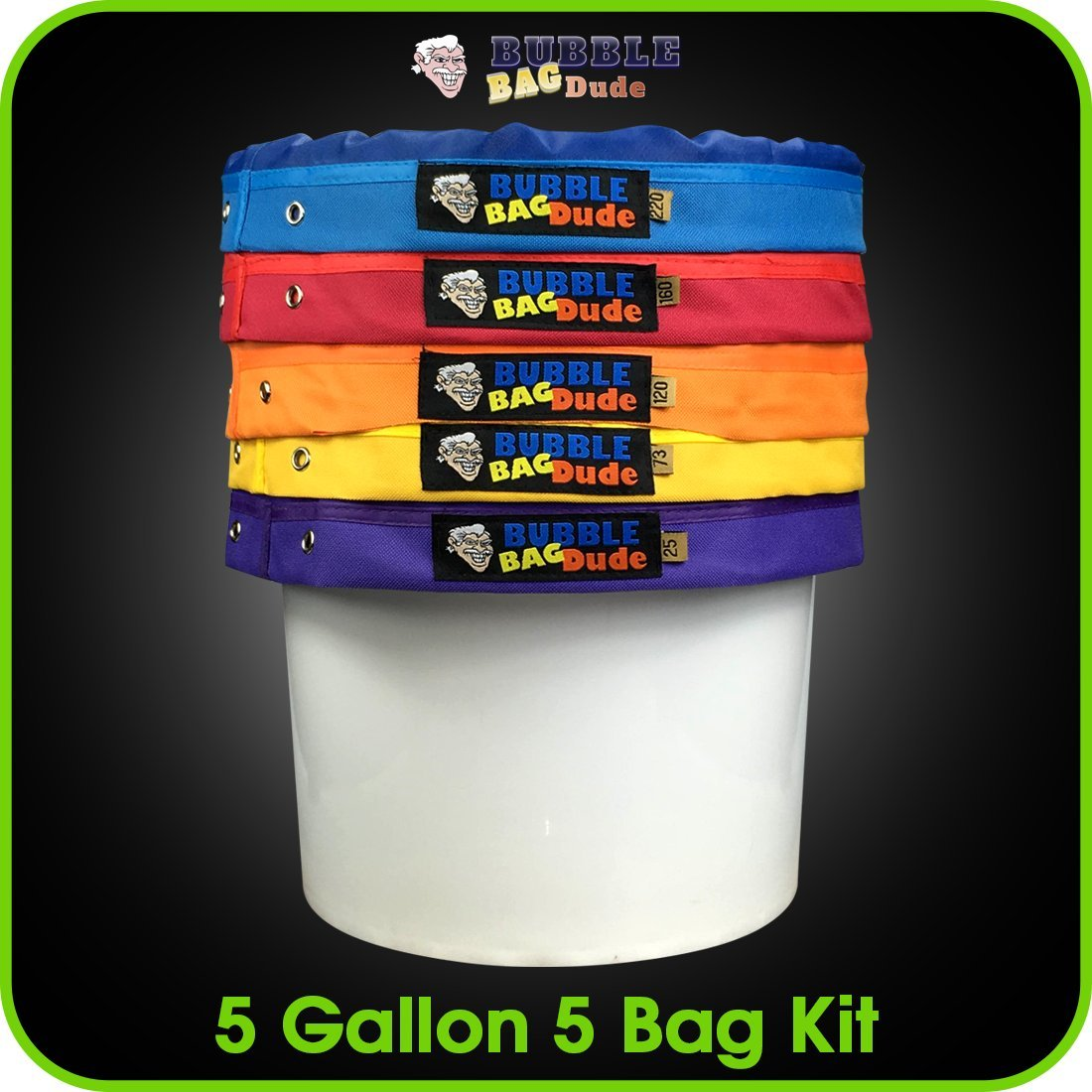BUBBLEBAGDUDE Bubble Bags 5 Gallon 5 Bag Set - Herbal Ice Bubble Bag Essence Extractor Kit - Comes with Pressing Screen and Storage Bag by BUBBLEBAGDUDE (Image #4)