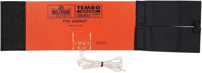 Zerostart 3400037 (Wolverine Model FH-100) Silicone Pad Diesel Fuel Filter Heater Wrap, 12' (30.5 cm)  x 4' (10.2 cm)   12 Volts   100 Watts 12 (30.5 cm)  x 4 (10.2 cm)   12 Volts   100 Watts Zerostart & Temro