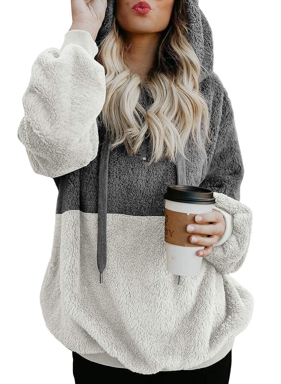 Size: S-2XL Levas Womens Long Sleeve Colorblock Furry Hoodie Zipped Neckline
