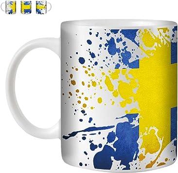 Stuff4 Taza de Café/Té 350ml/Suecia/Sueco/Bandera Splat País/Cerámica Blanca/ST10: Amazon.es: Electrónica