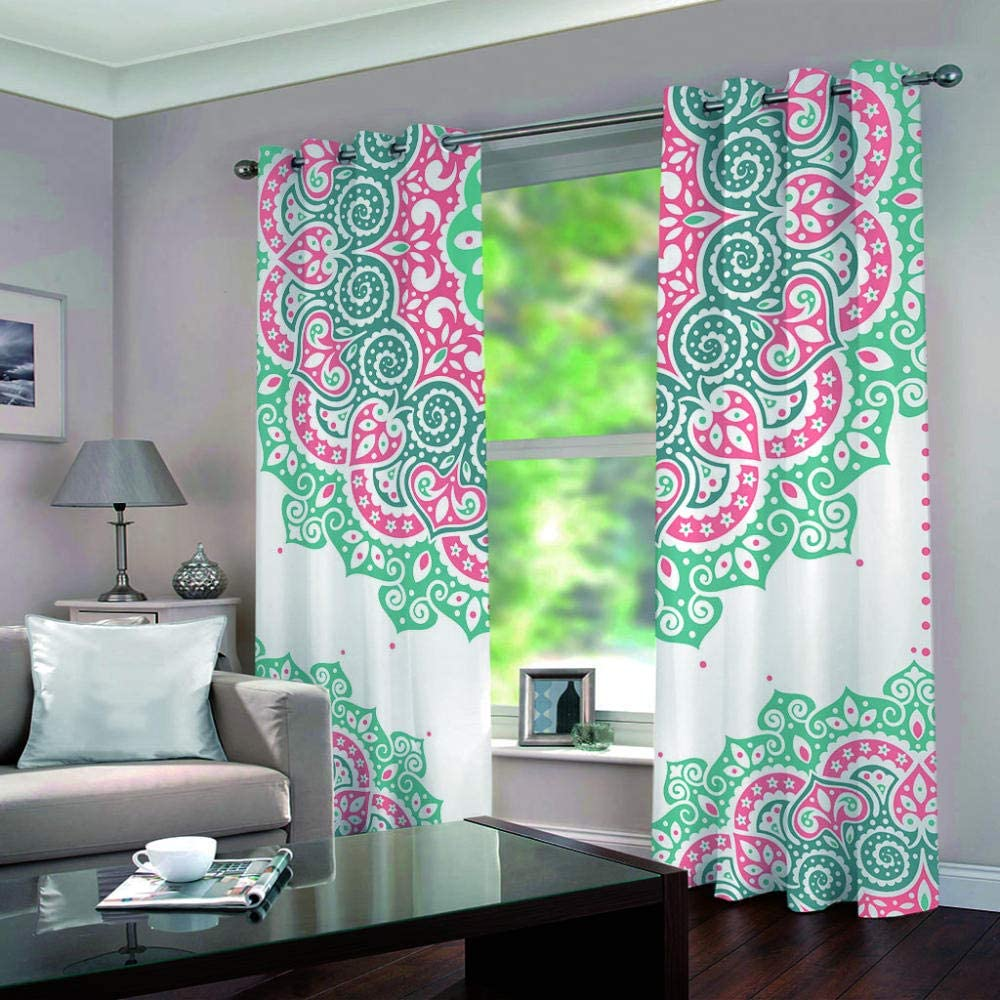 zpangg Black Out Window Cover Mandala Flower Blackout For Children Bedroom Eyelet Thermal Insulated Room Darkening Curtains For Nursery Living Room Bedroom 150/×166Cm