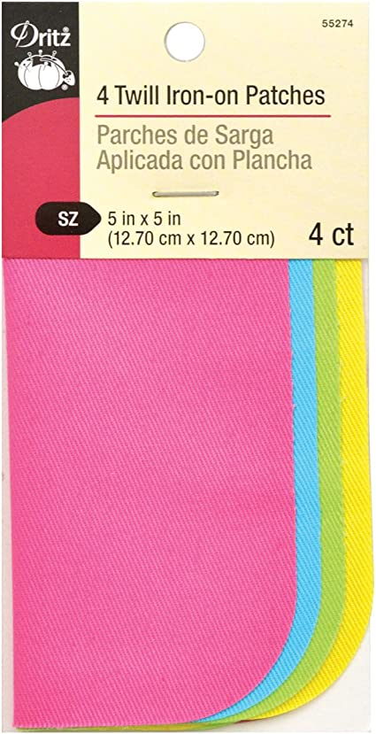Dritz 5 by 5-Inch Iron on Twill Patches 4-Pack Neon