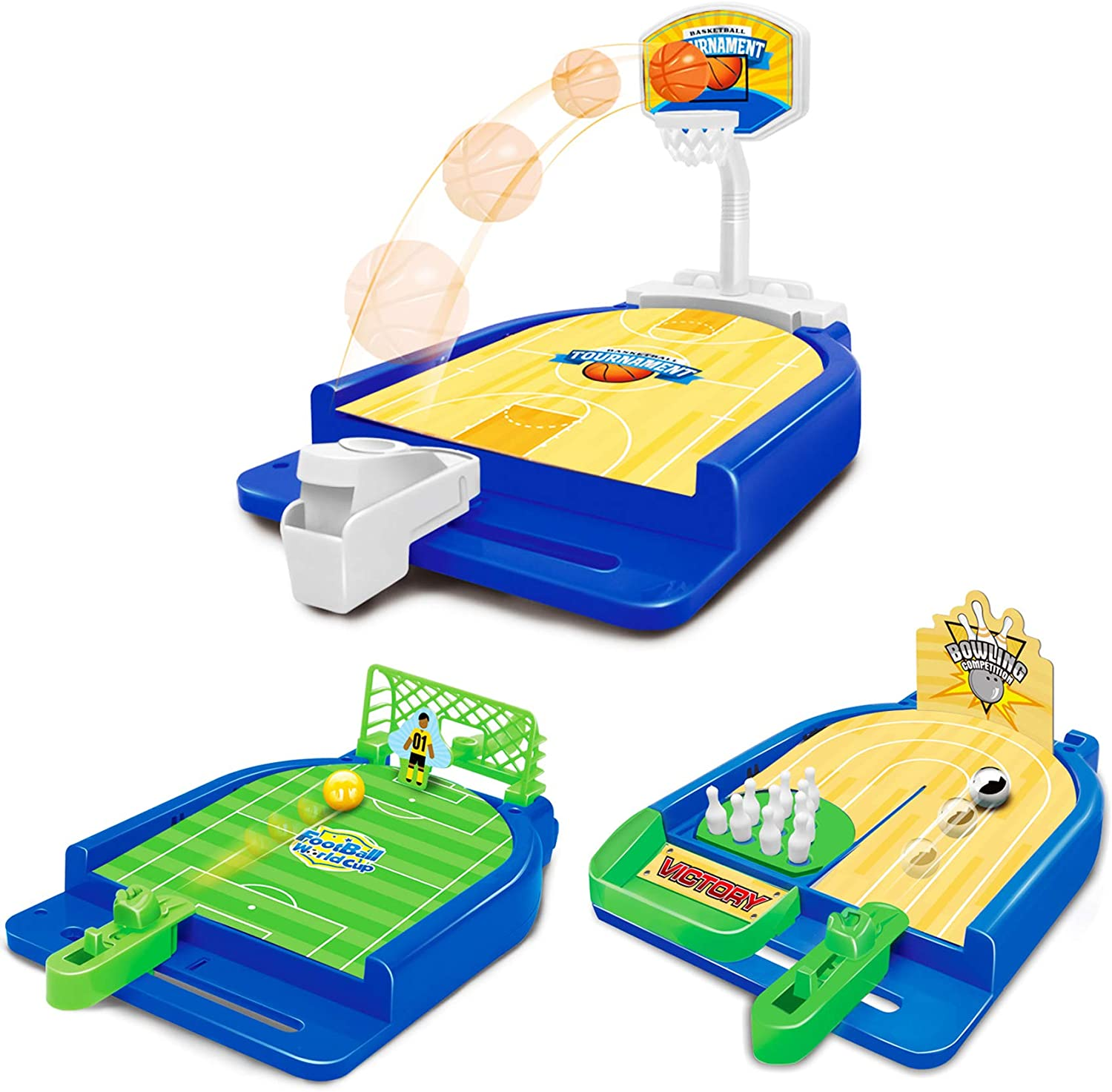 Sports Games Set 3 in 1 Mini Desktop Table Basketball Game Bowling Game Football Game,Fun Desktop Sports Toy,Suitable for Travel,Parties.