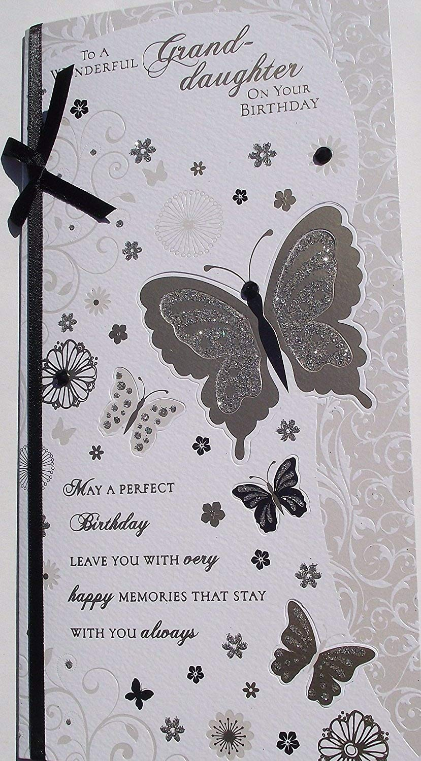 EMBELLISHED ON FRONT BUTTERFLIES GRANDDAUGHTER BIRTHDAY CARD BUTTERFLY