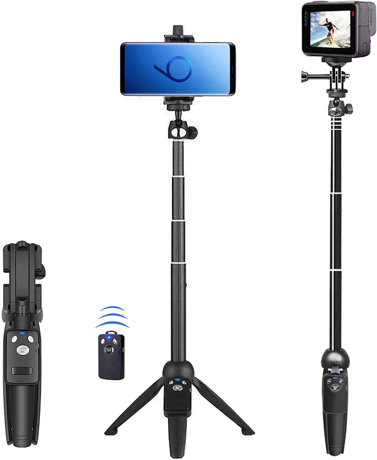 Selfie Stick, 40 inch Extendable Selfie Stick Tripod,Phone Tripod with Wireless Remote Shutter Compatible with Phone 11 11 pro Xs Max Xr X 8Plus 7, Android, Samsung Galaxy S10 S9,Gopro and More