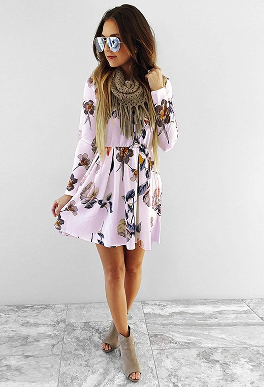 Angashion Womens Dresses Casual Floral Print Long Sleeve Swing Pleated Skater A Line Mini Dress