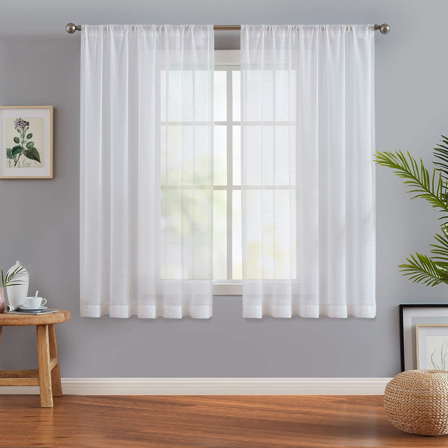 Extra Wide White Cream Grey  semi sheer SLUBBED COTTON Look voile Curtain Panel ** All Sizes available **