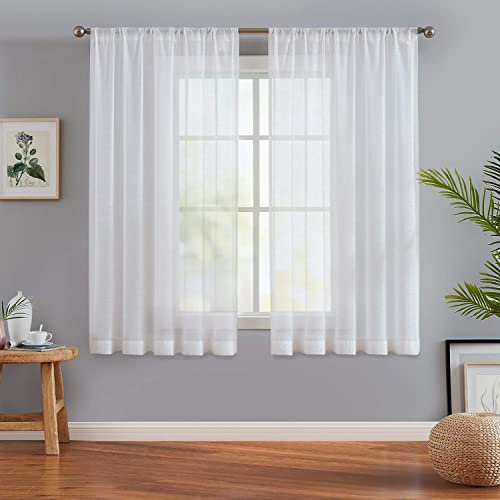 Fmfunctex Slub White Semi-Sheer Curtain Panel