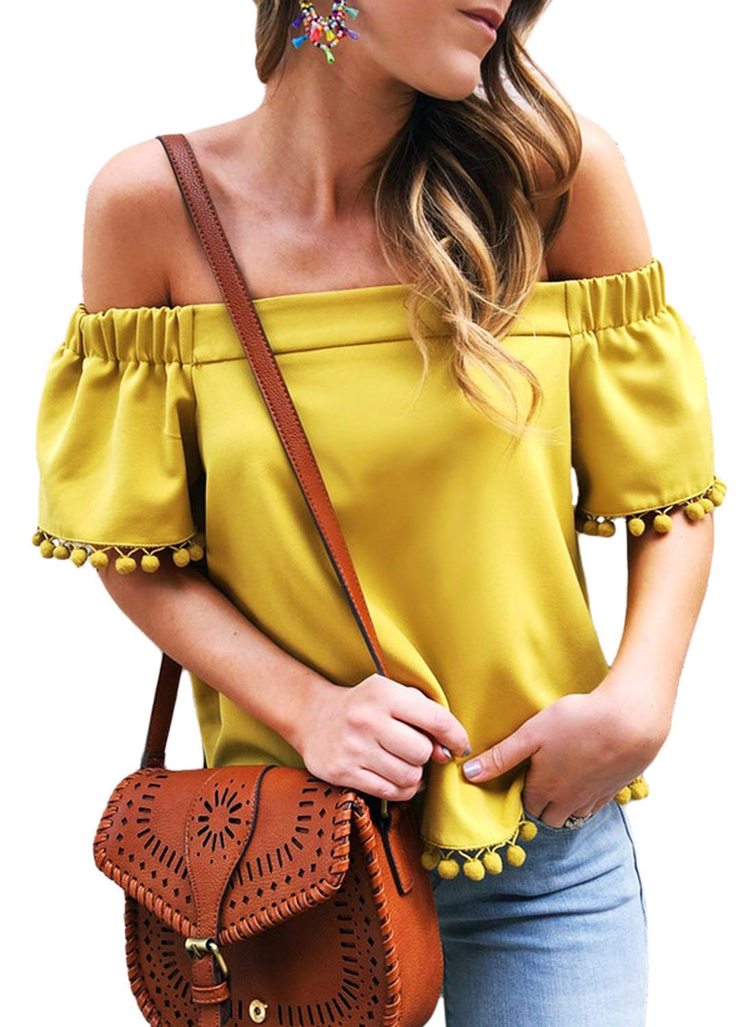 Asvivid Womens Sexy Pop Pop Trim Off The Shoulder Strapless Blouses Tassel Loose Short Sleeve Tee Tops M Yellow