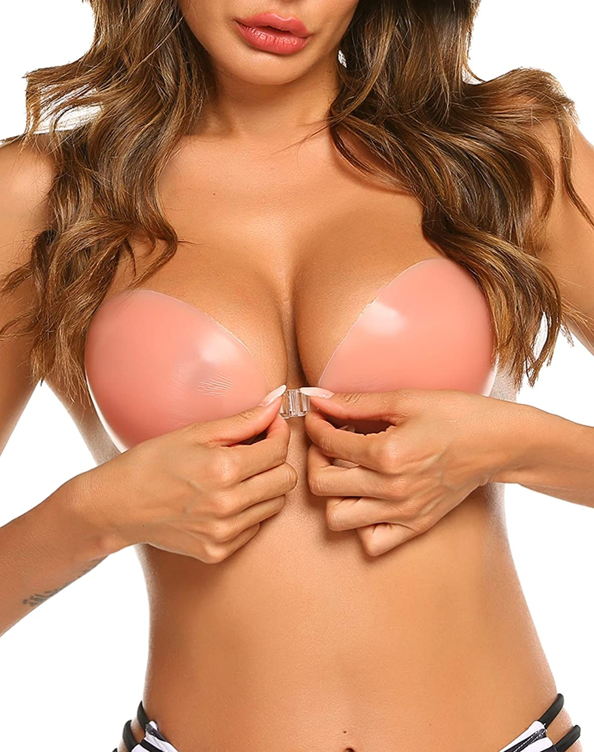 ELOVER Adhesive Bra Reusable Strapless Sticky Invisible Push up Silicone Bra
