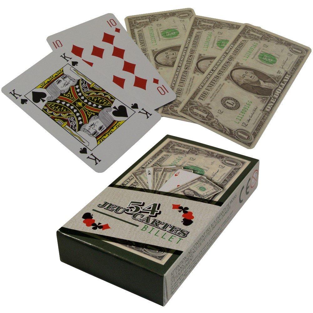 -Jeu 54 Cartes Fun Aspect Billet 100 Dollars idéal Poker Belote Rami New York