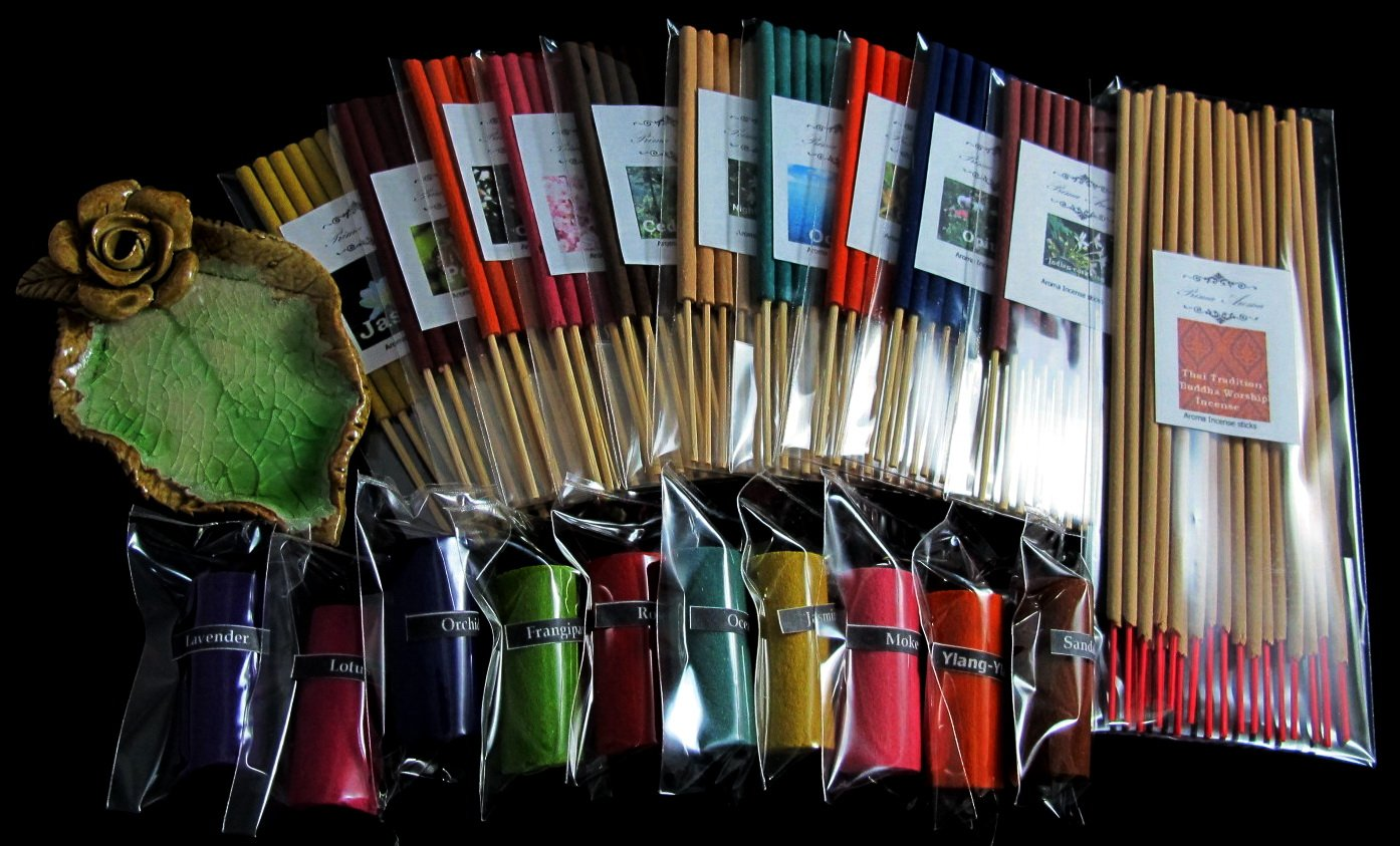 Refreshed by the aromatherapy set, Thai tradition temple incense, 10 packs of 10 small smokeless aroma incense tube, 10 smokeless aroma incense cylinder & handmade ceramic Incense burner (FL64)