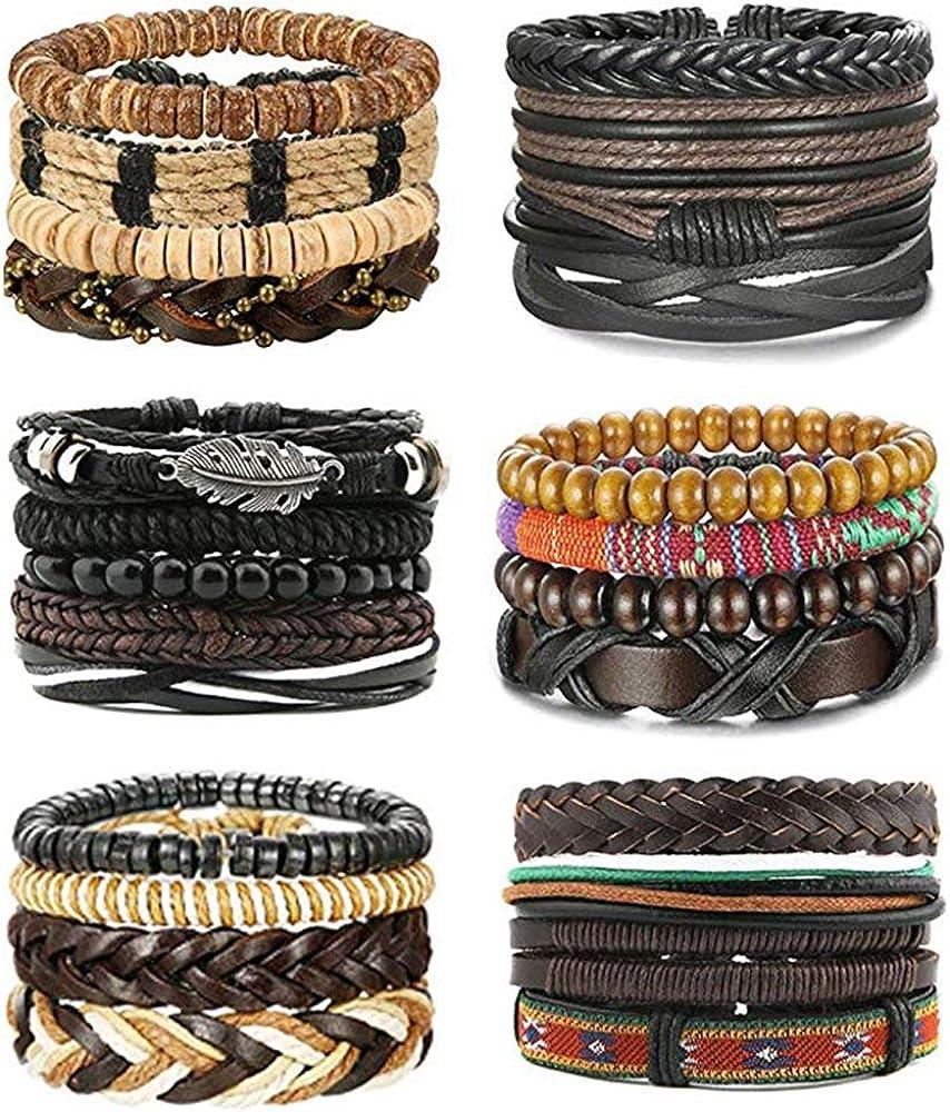 MJartoria Leather Bracelets for Men, Mens Womens Unisex Faux Leather Bracelets Adjustable Braided Multi Cool Wrap Wristbands Cuff Set