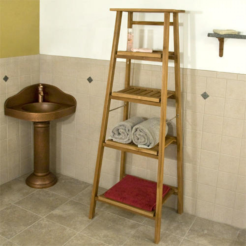 Naiture Four Tiered Ladder Style Teak Bathroom Shelf