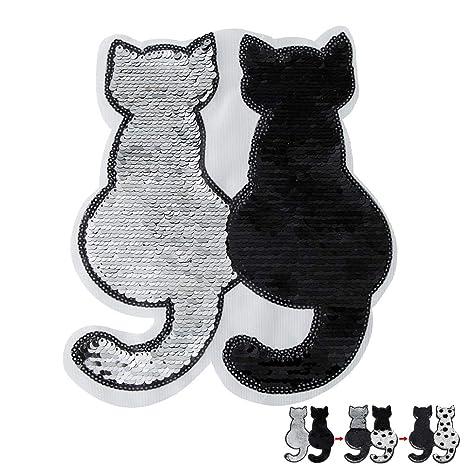 KOBWA Parches de Lentejuelas Dobles para Gatos, Reversibles para Cambiar de Color, con Lentejuelas