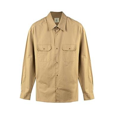 Seeksmile Mens Long Sleeve Cotton Work Shirt Small Khaki