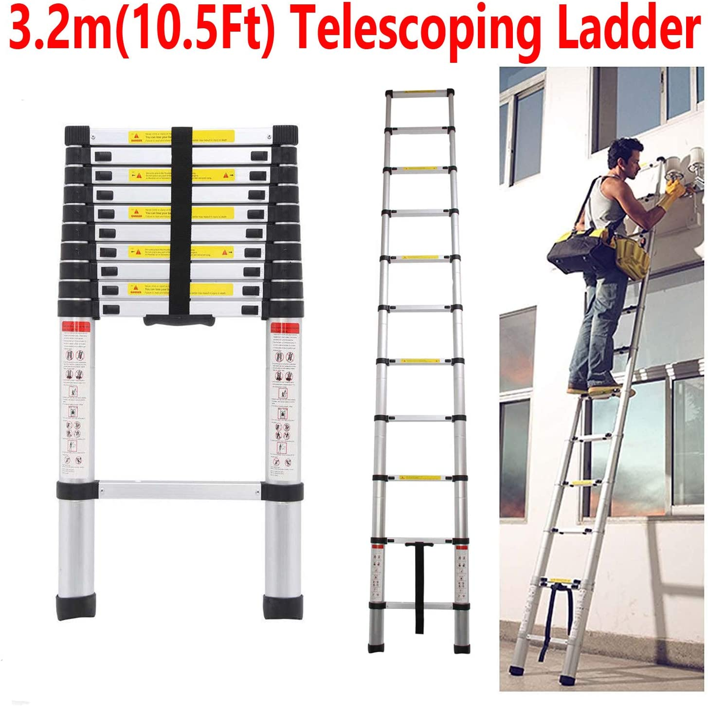 Escalera telescópica de 3,2 m de alta calidad con carga máxima de 330 libras, escalera telescópica plegable de aluminio multiusos extensible con EN131 con goma antideslizante, entrega rápida: Amazon.es: Bricolaje y herramientas