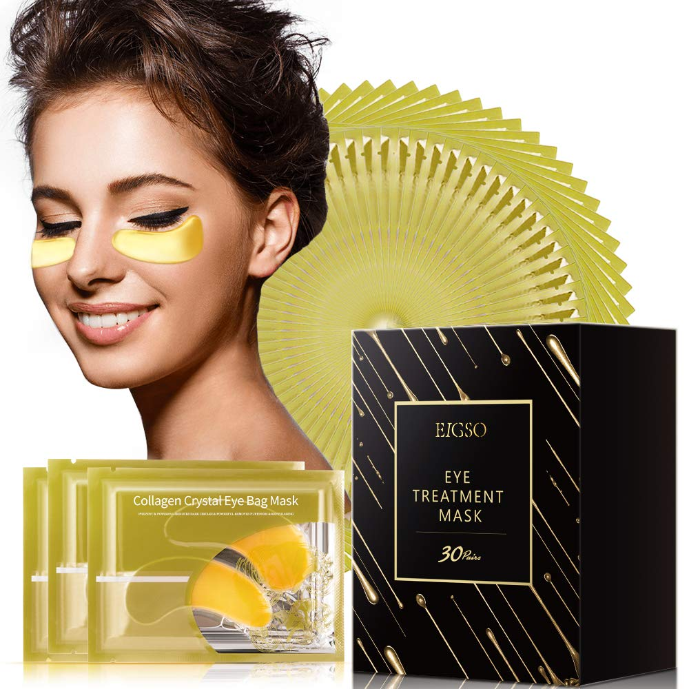 EIGSO 30 Pairs Collagen Under Eye Patches - 24K Gold Treatment Eye Pads with Hyaluronic Acid, Vitamin A & C, Great for Moisturizing & Reducing Dark Circles, Puffy Eyes by EIGSO