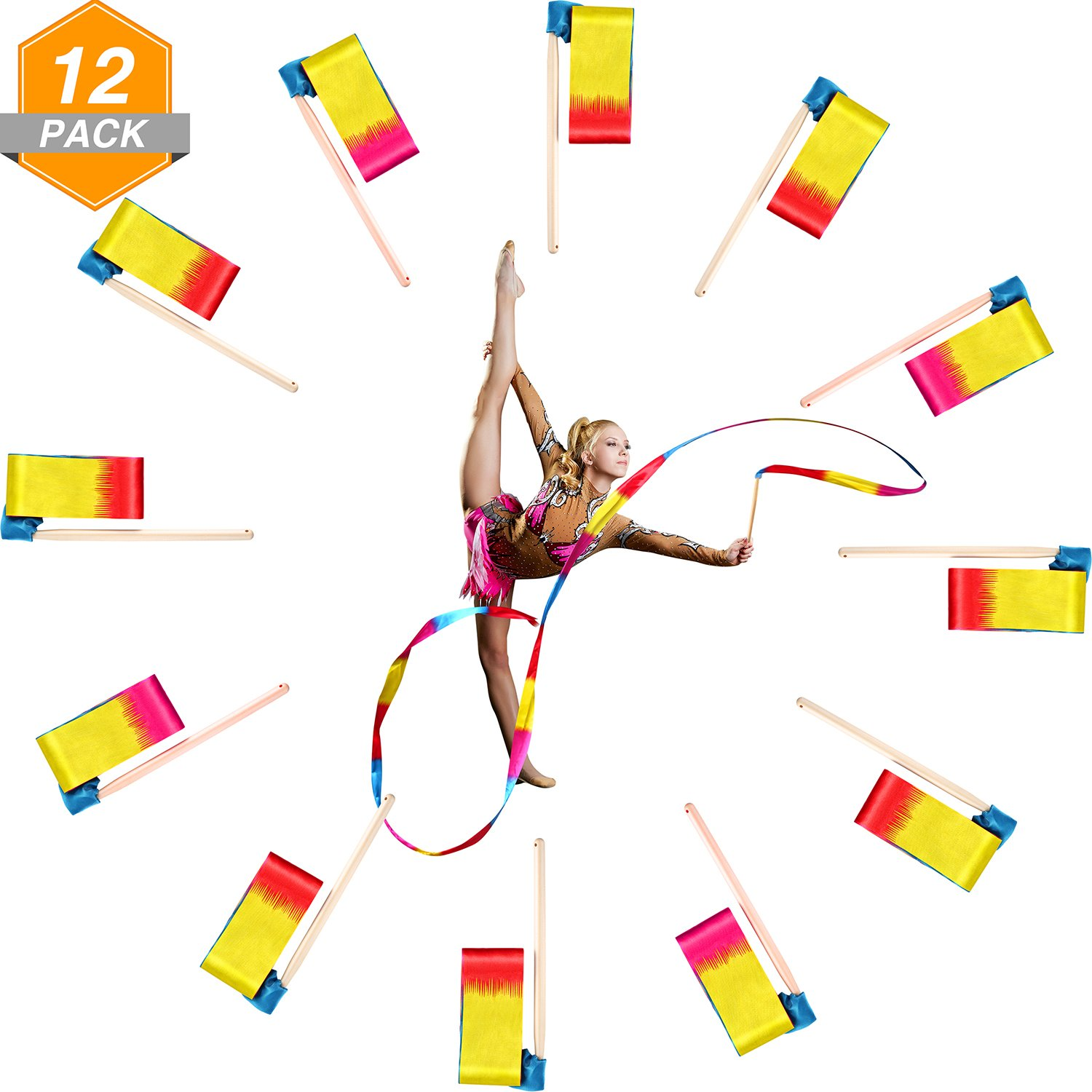 Gejoy 12 Pieces 4 Meters Dance Ribbons Rhythmic Gymnastics Streamers Ribbon with Wooden Wand for Kids and Adults