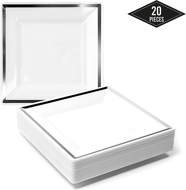 20 Premium Pequeños Platos Cuadrados de Plástico Duro Desechables con Borde Plateado, Platos de Postre, 16.5cm| Durable Lavable y Reutilizable| Vajilla Blanca y Plateada| Bodas Fiestas Cumpleaños.