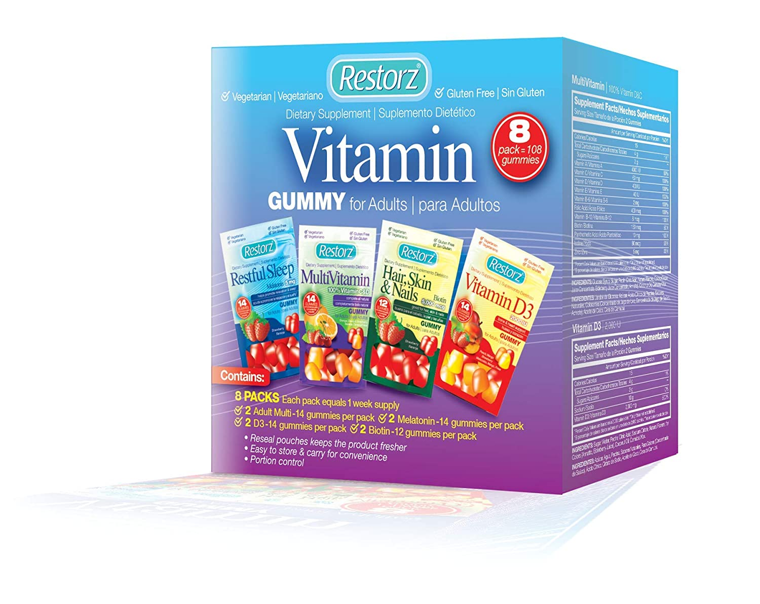 Amazon.com: Restorz Multivitamin, Vitamin D3, Hair, Skin & Nails and Restful Sleep Gummy for Adults Multi Pack - 108 Gummies, 8 Pack: Health & Personal Care
