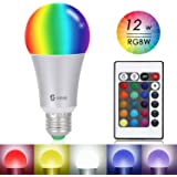 SHEKAR A19 Dimmable LED Light Bulb 12W RGB+W 16 Colors E27 Base Remote Controller Included (1 Pack;RGB)