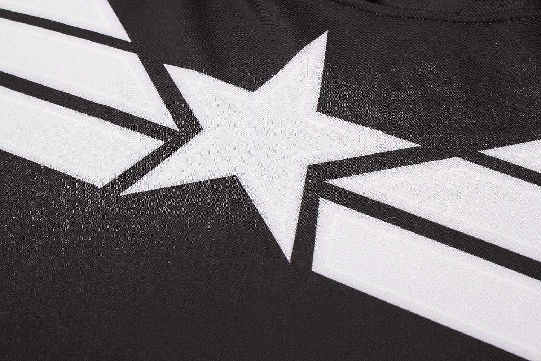 Cosfunmax Superhero Captain Team Leader Compression Shirt Sports Gym Ruining Base Layer