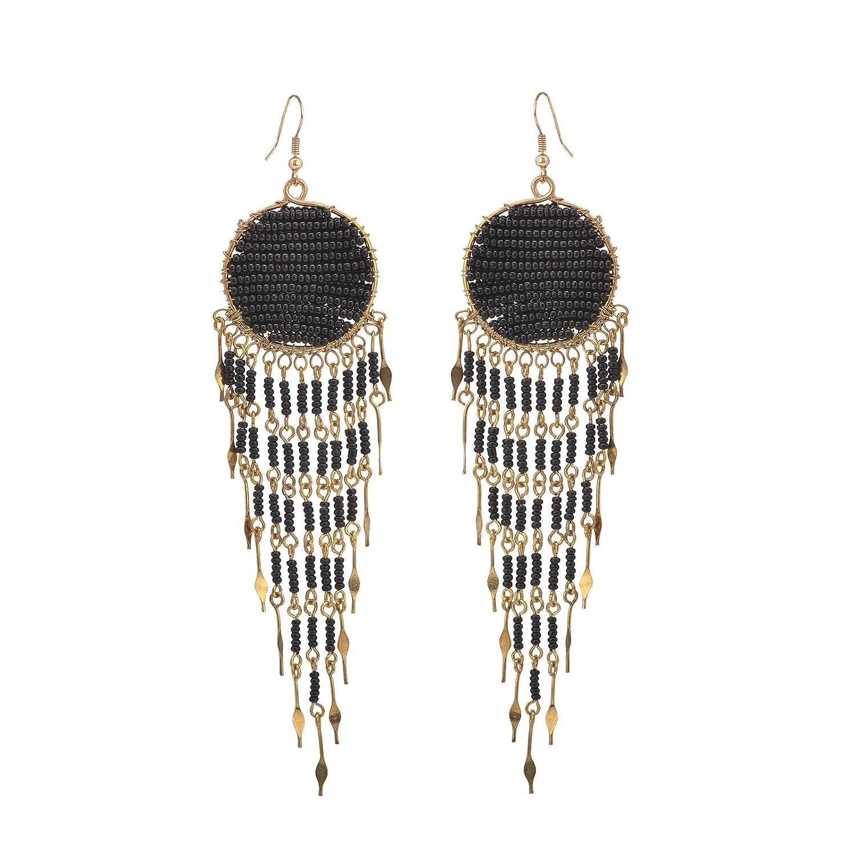 Ornamenta Earrings Pierced Hand Beaded Black Tassel Dangler Jewellery for Girls For Girls and Women