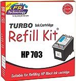 TURBO INK CARTRIDGE REFILL KIT for HP 703 (Black)