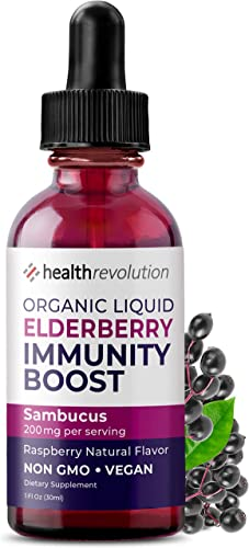 Organic Elderberry Syrup – USA Grown Vegan Black Elderberry Sambucus Extract Liquid Drops by Health Revolution. Immune Support Supplement. Natural Flavors No Alcohol or Artificial Sweeteners. Tincture