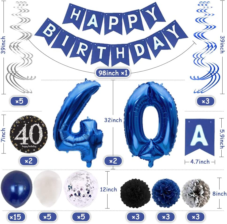Blue Silver Birthday Party Decorations,Happy Birthday Decorations for Men Balloons for Birthday Party Happy Birthday Balloon Banner Letters 40th Birthday Decorations for Men Happy Birthday Balloons Party Decorations 40th Birthday Decorations for Women