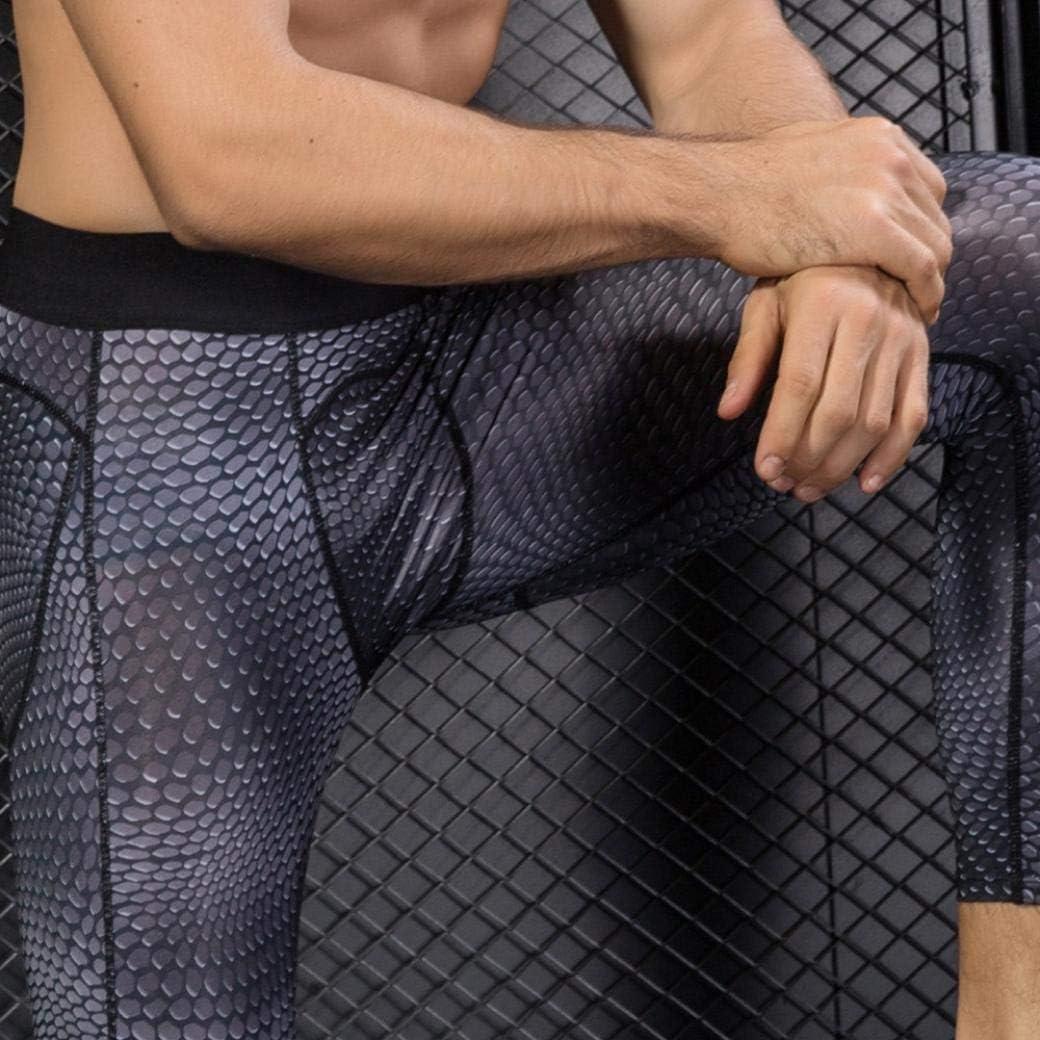 Willsa Mens Pants 3D Printing Seven Minute Trousers Pants Gym Slim Trousers Running Sweatpants