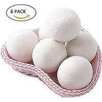 PUBAMALL Las bolas del secador de la lana, suavizante natural reutilizable de la tela, reducen arrugas de la ropa (Paquete de 6, Blanco)