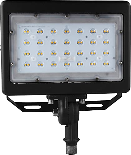 50W LED Flood Light 7000Lm Led Shoebox Pole Lights with Knuckle Bracket Mount, 5000K IP65 Waterproof Outdoor Security Lighting for Doorway Garden Yard Advertising Board and Parking Lot UL-Listed
