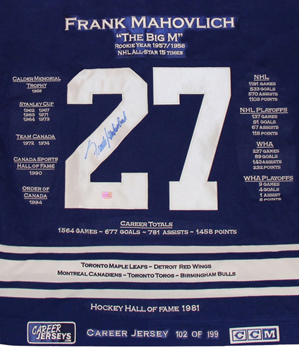 Frank Mahovlich Career Jersey - Autographed - LTD ED 199 - Toronto Maple  Leafs at Amazon s Sports Collectibles Store 181ca8e59
