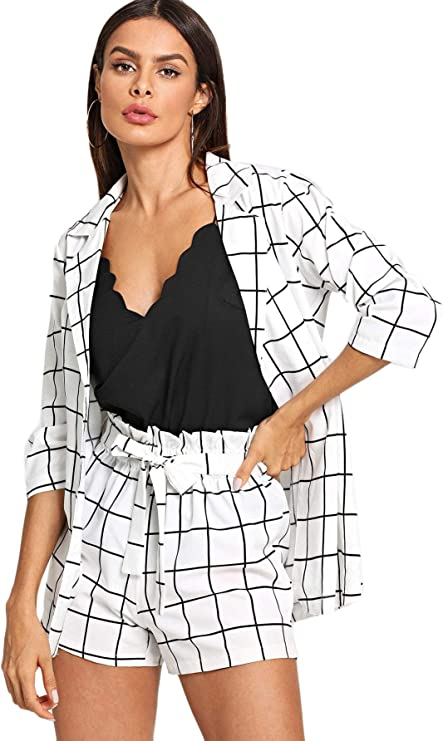 SheIn Women's 2 Pieces Plaid Thin 3/4 Sleeve Blazers and Self Tie Waist Shorts Set